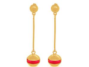 Boucles-doreilles-Bilou-puces-longues-rose-fluo-dorées