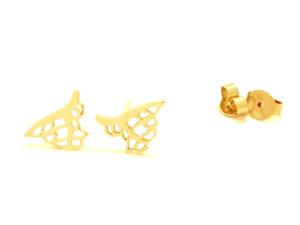 Boucles d'oreilles Corail pendantes plaqué or