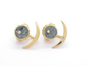 Boucles d'oreilles coeur de kersanton et diamants + demi lunes plaqué or