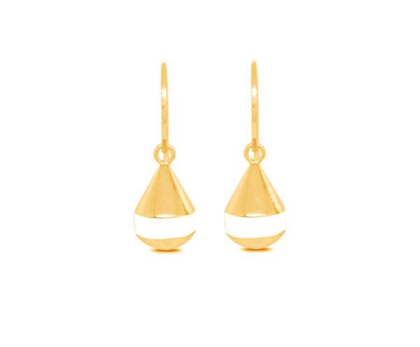 Boucles d'oreilles bouées crochets Bazil n°2 blanc dorées