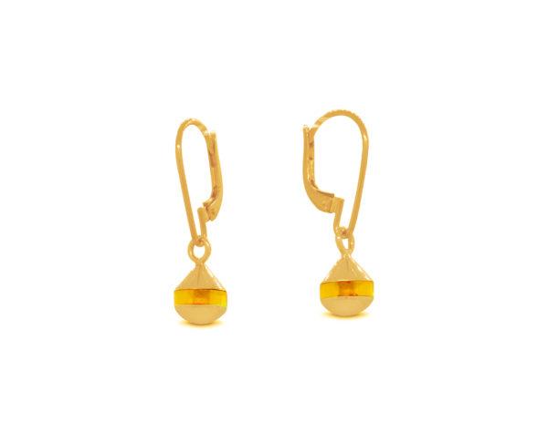 Boucles d'oreilles bouées dormeuses Poupian n°1 jaune fluo dorées