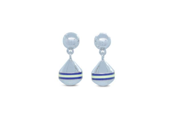 Boucles d'oreilles bouées puces courtes Poupian n°2 marinière bleue