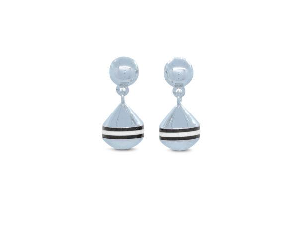 Boucles d'oreilles bouées puces courtes Poupian n°2 marinière noire