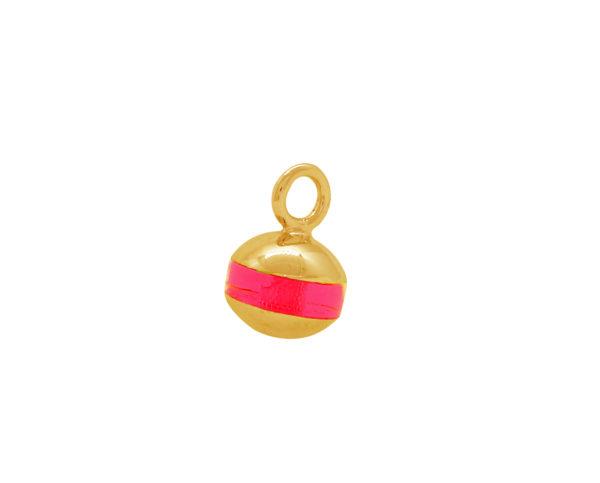 Pendentif bouée Bilou rose fluo doré