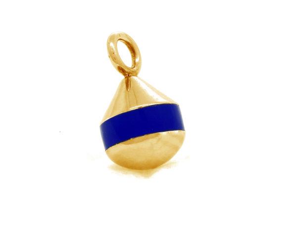 Pendentif bouée Poupian bleu saphir doré