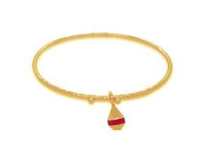 Bracelet bouée Bazil n°1 rouge grenat doré