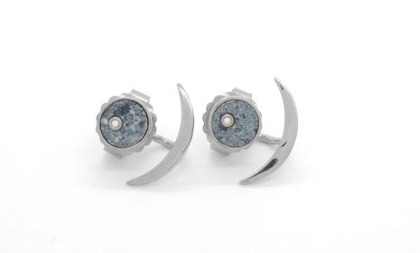 Boucles d'oreilles coeur de kersanton et diamants + demi lunes