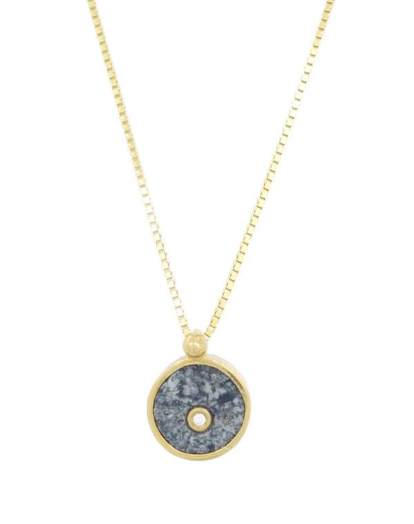 Pendentif Coeur de kersanton + diamant plaqué or